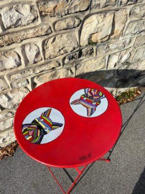 """Table Bouledogue """"Recyclée&customisée"""""""